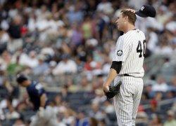 Tampa Bay Rays Reid Brignac runs the bases after hitting a 3-run homer at Yankees Stadium in New York
