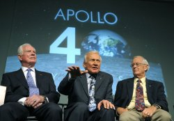 NASA holds a news conference on the 40th Anniversary of the moon landing in Washington