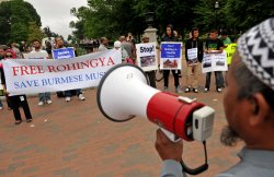 Protest against Burmese President Thein Sein outside the White House in Washington