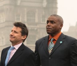 Olympians Sebastian Coe and Carl Lewis launch 2012 Olympics tickets sale.