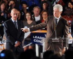 Former president Bill Clinton speaks on behalf of Jerry Brown in Los Angeles