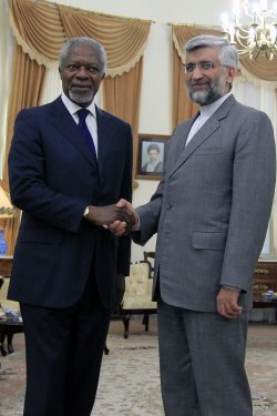 UN-Arab league envoy Kofi Annan in Tehran for Talks