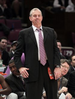 Connecticut Huskies head coach Jim Calhounat the NCAA Big East Men's Basketball Championships Finals in New York