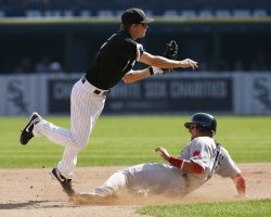 Chicago White Sox second baseman Chris Getz attempts a double play against the Boston Red Sox in Chicago
