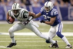 Jets Smith Breaks Tackle by Colts Lacey