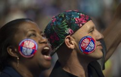 Delegates wear stickers at the DNC convention in Philadelphia