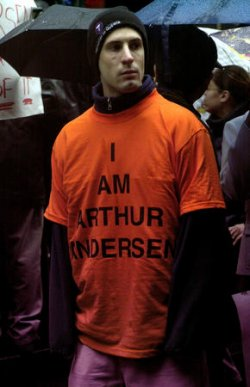 Arthur Andersen employees rally in support of the company