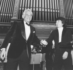 Leonard Bernstein with Seiji Ozawa at Boston Symphony Hall