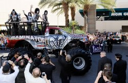 (L-R) Musicians Gene Simmons, Tommy Thayer, Paul Stanley and Eric Singer of the band KISS arrive at the Academy of Country Music Awards in Las Vegas