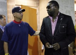 David Ortiz and Terry Francona after Press Conference at Yankee Stadium in New York