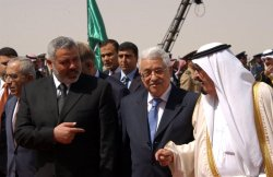 SAUDI KING ABDULLAH WELCOMES PALESTINIAN LEADERSHIP IN RIYADH