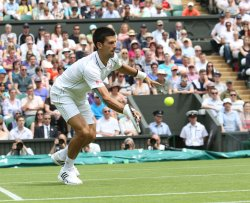 Novak Djokovic in the first round at Wimbledon Tennis Championships