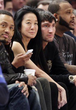 Vera Wang and Evan Lysacek at Madison Square Garden in New York