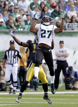 Jacksonville Jaguars Rashean Mathis intercepts a pass at MetLife Stadium in New Jersey