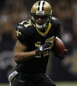 New Orleans Saints receiver Robert Meachem goes 67 Yards for a touchdown at the Mercedes-Benz Superdome