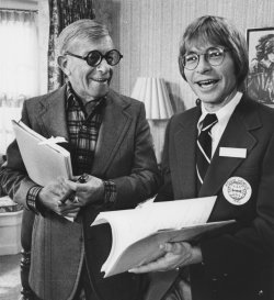 George Burns and John Denver go over script for movie ?Oh God?