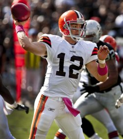 Browns Colt McCoy passes against Raiders in Oakland, California