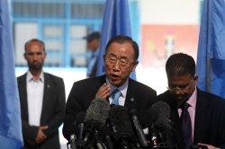 Ban Ki-moon Made a Brief visit to War-Ravaged Gaza