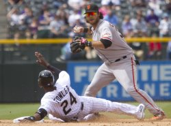 Rockies Fowler Breaks Up Double Play Against the Giants Crawford in Denver