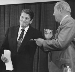 President Reagan and George Shultz in Good Spirits