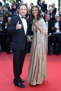 Vincent Perez and Karine Silla attend the Cannes Film Festival