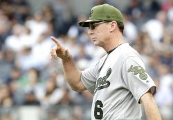 Oakland Athletics manager Bob Melvin points his finger