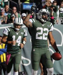 New York Jets Matt Forte reacts after scoring a touchdown