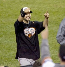 San Francisco Giants Sanchez celebrates after winning the NLCS in Philadelphia