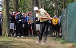 Padraig Harrington hits from the rough on the 18th hole at the US Open in Maryland
