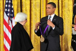 Prsident Obama awards Emily Rauh Pulitzer a National Medal of Arts in Washington