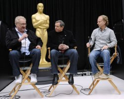 Don Mischer, Tom Sherak and Bruce Cohen speak at a news conference as preparations are made for the 83rd annual Academy Awards in Hollywood