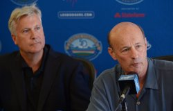 Mark Walter and Stan Kasten participate in a news conference to announce Dodgers blockbuster trade in Los Angeles