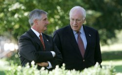 ANDREW CARD AND VICE PRESIDENT DICK CHENEY AT PRESIDENT GEORGE W. BUSH DELIVERS RADIO ADDRESS ON HURRICANE RELIEF EFFORTS