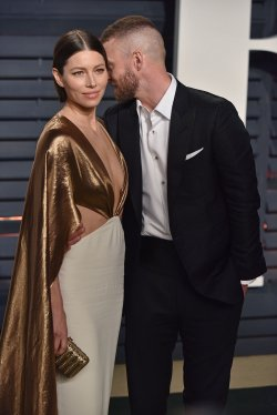 Justin Timberlake and Jessica Biel arrive for the Vanity Fair Oscar Party in Beverly Hills
