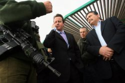 BRITISH CONSERVATIVE PARTY LEADER CAMERON MEETS ISRAELI DM PERETZ IN METULA