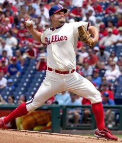 Philadelphia Phillies pitcher Joe Blanton pitches