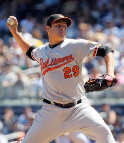 Baltimore Orioles starting pitcher David Hernandez throws a pitch at Yankee Stadium in New York