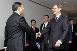 Germany's Foreign Minister Guido Westerwelle (R) meets with his Chinese counterpart Yang Jiechi at the UN in New York