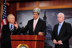 Sen. John McCain (R-AZ) and Sen. John Kerry (D-MA) speaks on Tunisia and Egypt in Washington