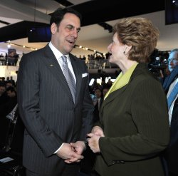 Reuss and Stabenow talk at the 2011 NAIAS in Detroit