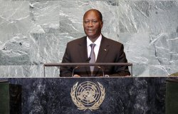 Ivory Coast's President Alassane Ouattara at the 66th United Nations General Assembly at the UN in New York