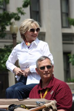 Indy 500 Festival Parade Crowd Cheers Florence Henderson in Indianapolis, Indiana.