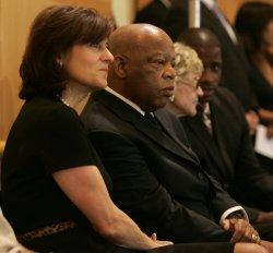 Congressman Elijah Cummings (D-MD) and Victoria Kennedy view the casket of Senator Edward Kennedy (D-MA) in Boston