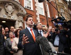Liberal Democrat leader Nick Clegg talks to the media.