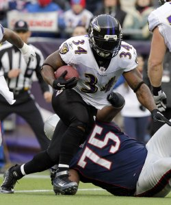 Baltimore Ravens Ricky Williams in the AFC Championship Game at Gillette Stadium in Massachusetts