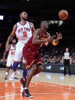 New York Knicks Jared Jeffries watches Cleveland Cavaliers Antawn Jamison lose the ball under the basket at Madison Square Garden in New York