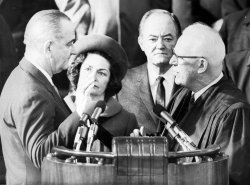 Lyndon Baines Johnson takes his second oath of office