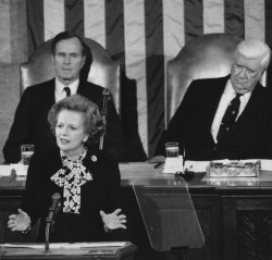 Margaret Thatcher addresses a joint session of Congress