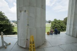 Graffiti Being Repaired at the Lincoln Memorial in Washington, DC