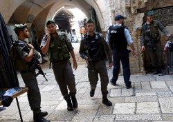 Israeli Border Police Patrol Muslim Quarter Old City Jerusalem